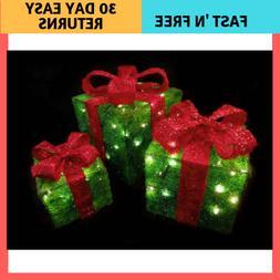 Set of 3 Sparkling Green Sisal Gift Boxes Lighted Christmas