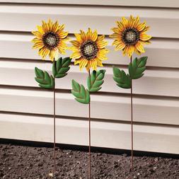 set of 3 sunflower metal garden stakes