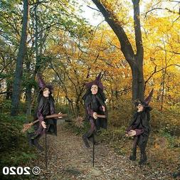 Set of 3 Witches on Brooms Yard Stakes Scary Halloween Outdo