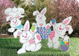 Set of 4 Easter Bunny Eggs Yard Stakes Garden Statue Outdoor