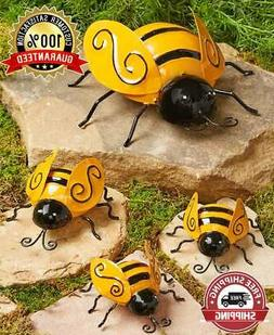Set of 4 Metal BUMBLE BEES Garden Insect Sculpture Outdoor Y