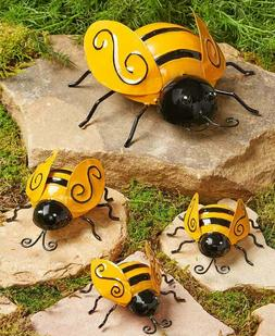 Set of 4 Metal Garden Ladybugs or Bees Wall Fence Garden Yar