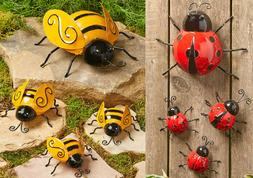 Set of 4 Metal Garden Ladybugs or Bees Wall Ground Fence Han
