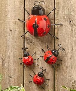 Set Of 4 Metal Garden Ladybugs Wall Fence Art Garden Yard La