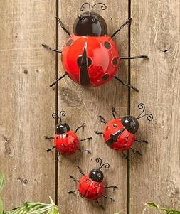 Set Of 4 Metal Garden Ladybugs Wall Fence Art Garden Yard La