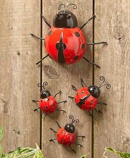 Set of 4 Metal LADYBUGS Garden Insects Sculptures Outdoor Ya