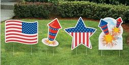 Set of 4 Patriotic Star USA Flag Yard Sign Stakes Outdoor 4t