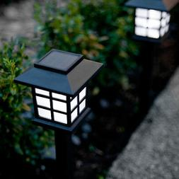 Set of 6 White LED Outdoor Solar Powered Lantern Garden Lawn