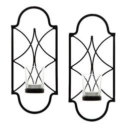 "Hosley Set of 2-12"" High Iron Tea Light Candle Wall Sconces."