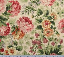 shabby pink rose cotton home decor fabric