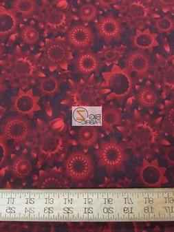 SHADOWLAND 4 RED SUNS BY KONA BAY COTTON FABRIC FH-3480 BY T