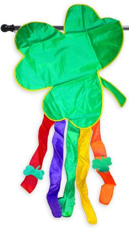 Shamrock St. Pat's Day 3D Applique House Flag Embroidered De