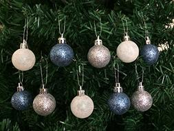 10PC/Pack Shatterproof Christmas Ball Ornaments 30mm  - Blue
