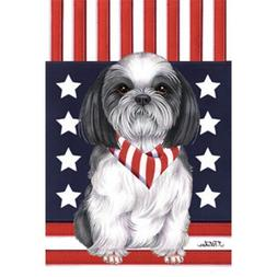 Shih Tzu Patriotic Breed Garden Flag