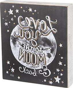 Primitives by Kathy Box Sign, Moon & Back Chalk Art