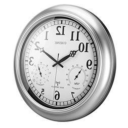 Cozime 18 Inch Silent Sweep Waterproof Wall Clock, US WWVB R