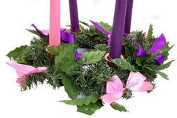 Silk Ribbon Advent Wreath Candle Holder Christmas Season Cen