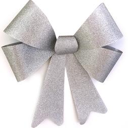 Silver Glitter Outdoor Bow Christmas Wreath Decoration Tree