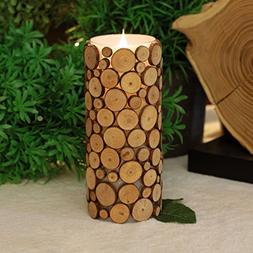 simplux Moving Wick Wood Pattern Mosaic Flameless LED Candle