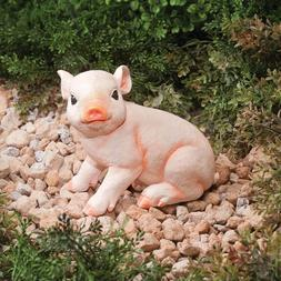 Sitting Pig Statue Resin Piglet Sculpture Lawn Miniature Yar
