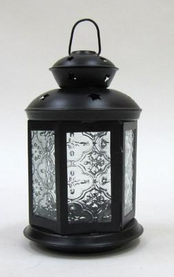 Six-Sides Old-Fashioned Candle Lantern W/ Embossed Glass Pan