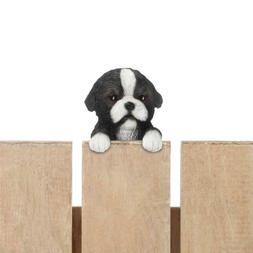 Small Border Collie Puppy Dog Hanging Statue - Yard Garden D