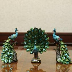 Small Peacock Resin Crafts Statues Best Gift Figurine Home A