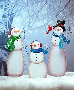 Snow Family Yard Stake Snowman Frosty Figure Christmas Holid