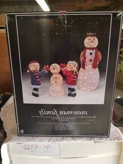 Snowman Family Lighted Christmas Holiday Lights Yard Decorat