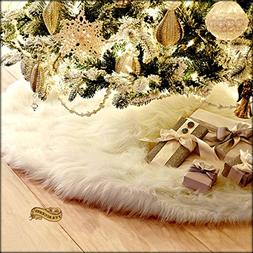 Christmas Tree Skirt Plush Shaggy Faux Fur White Round