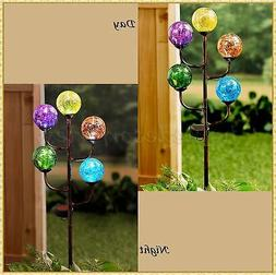 Solar 5-Light Colorful Crackled Glass Globe Ball Garden Yard