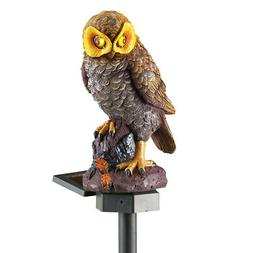 Solar Brown Hooting Owl Garden Stake