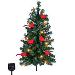 Solar Christmas Tree with Cardinals Yard Stake - Outdoor Hol