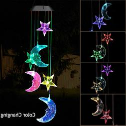 Solar Color Changing LED Moon & Star Wind Chimes Garden Yard