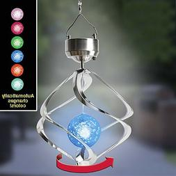 Solar Color Changing Wind Chime Spinner LED Light Yard Decor