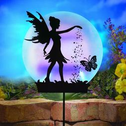 Solar Fairy Silhouette Garden Decor Yard Stake with Light-Up