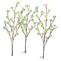 Solar Flower Branch Garden Stakes - Set of 3, Green