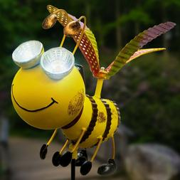 Solar Garden Bee Stake Lights - Outdoor Lawn Decor Garden De