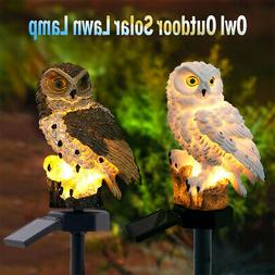 Solar Garden Lights Owl Ornament Animal Bird Yard Outdoor LE