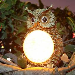 Solar Garden Pathway Decor Owl Statue Outdoor Yard Fence Law