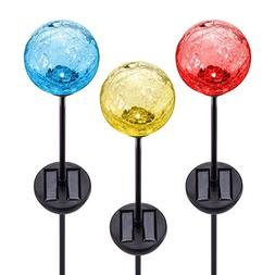 Solar Gazing Ball LED Lights on Tall Stakes -Outdoor Landsca