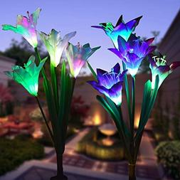 WOHOME Outdoor Solar Garden Stake Lights 2 Pack Solar Flower