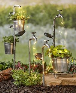Solar Garden Stakes Water Faucet Fairy Light Yard Lawn Art O