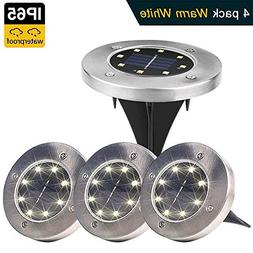 Solar Ground Lights,8 LED Disk Lights Solar Powered Waterpr