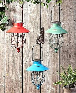 SOLAR HANGING LANTERN GARDEN LED LAMP LIGHT YARD PATIO OUTDO