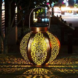 Solar Hanging Lantern Outdoor Decor Metal Yard Art Garden Pa