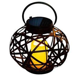 Solar Outdoor Hanging Lantern Vintage Flameless Candle Holde