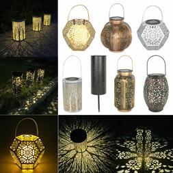 Solar Hanging LED Light Retro Hollow Metal Candle Lantern Ga