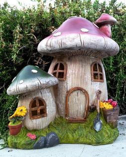 "Solar Home Outdoor Decor 9"" Mushroom Houses Statue LED Path"