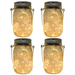CHBKT 4-Pack Solar-powered Mason Jar Lights ,20 Bulbs Jar Ha